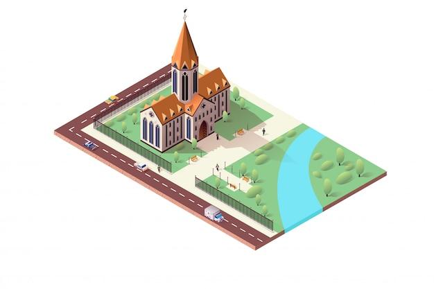 Paisagem da cidade isométrica com catedral católica