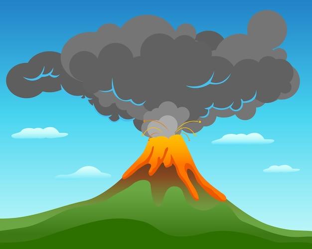 Paisagem da erupção do vulcão
