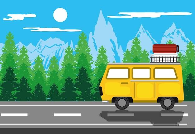 Paisagem da estrada de bagagem de van retrô
