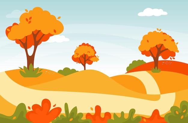 Paisagem da estrada de outono. paisagem da floresta natural. ilustração da natureza da folhagem de outono.