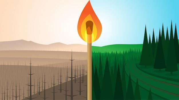 Paisagem da floresta antes e depois do incêndio