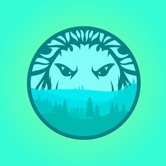 Paisagem da floresta com cabeça de leão
