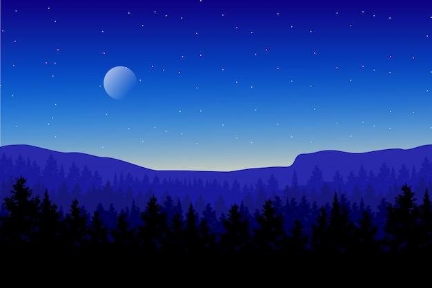 Paisagem da floresta de madeira de pinho com céu azul e ilustração de noite estrelada