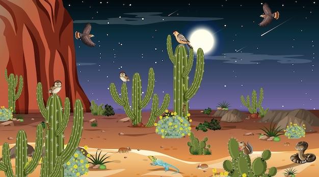 Paisagem da floresta do deserto à noite com animais e plantas do deserto