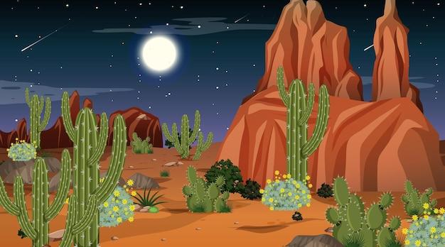 Paisagem da floresta do deserto à noite