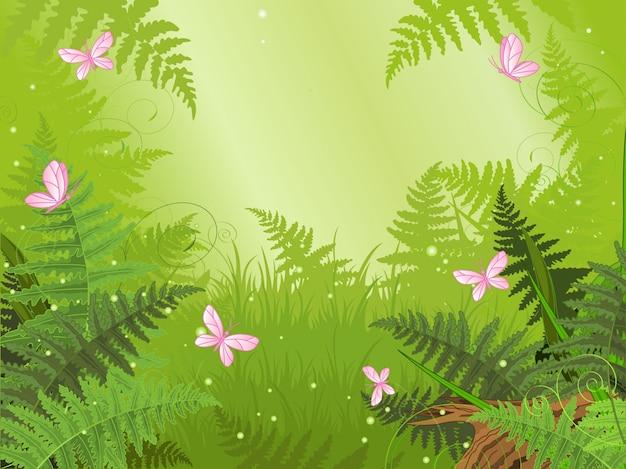 Paisagem da floresta mágica com borboleta