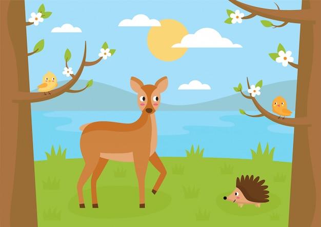 Paisagem da floresta no verão. desenhos animados corça, ouriço e pássaros.