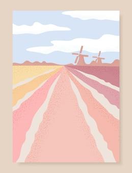Paisagem da holanda com campo de tulipas e moinho de vento.