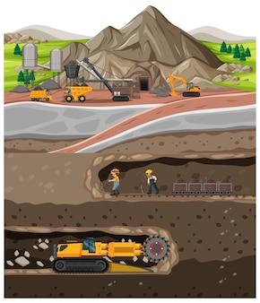 Paisagem da indústria de mina de carvão com subsolo