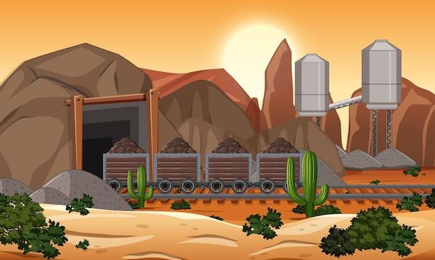 Paisagem da mineração de carvão na hora do pôr do sol