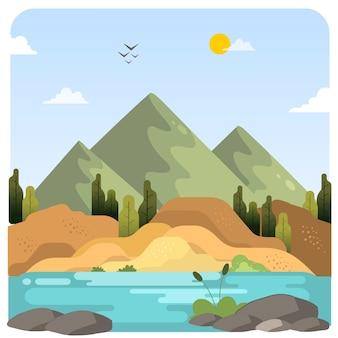 Paisagem da montanha rio lagoa ilustração paisagem fundo do céu azul