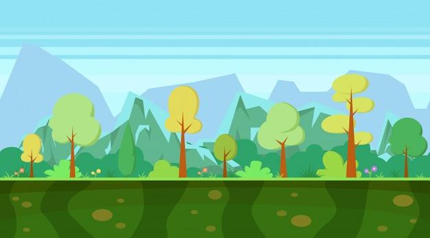 Paisagem da natureza dos desenhos animados com floresta e montanhas.