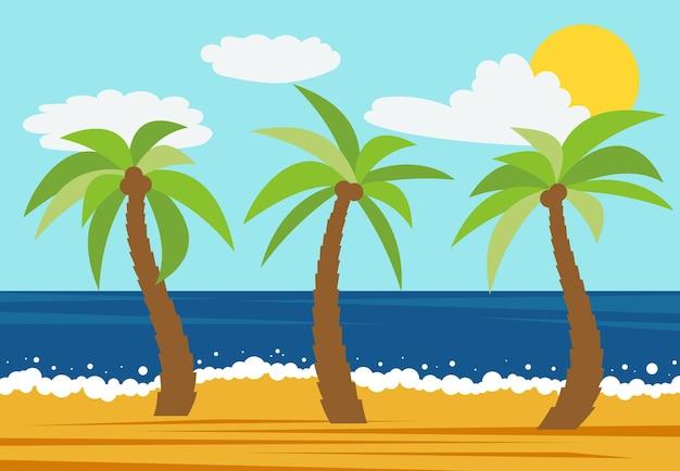 Paisagem da natureza dos desenhos animados com três palmeiras na praia de verão. ilustração vetorial.
