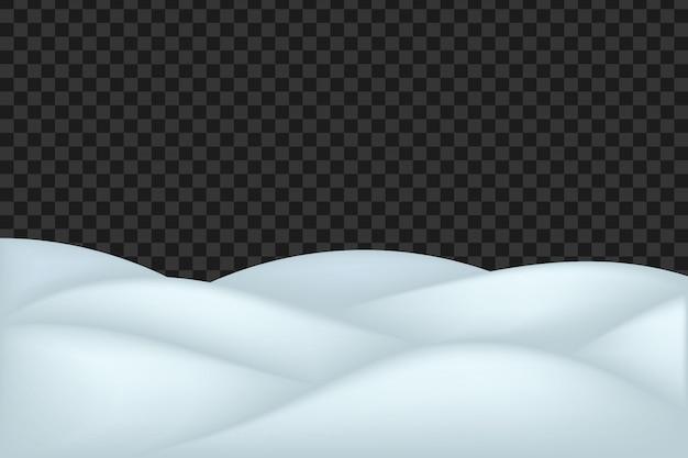 Paisagem da neve isolada no fundo transparente escuro.