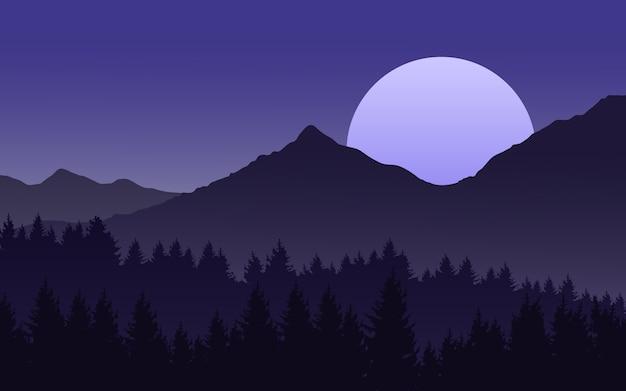 Paisagem da noite com a lua nascendo sobre a montanha