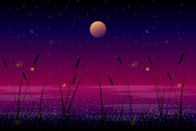 Paisagem da noite com ilustração da lua e do céu