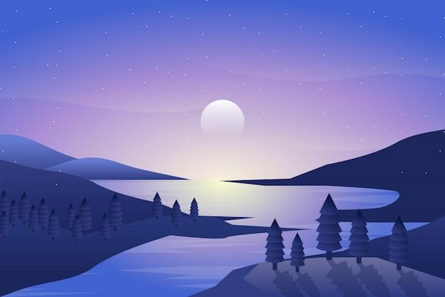Paisagem da noite com ilustração do mar e do céu