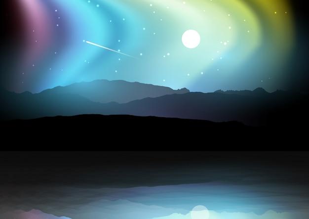 Paisagem da noite com montanhas contra um céu da aurora boreal