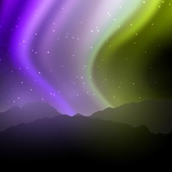 Paisagem da noite com o céu da aurora boreal