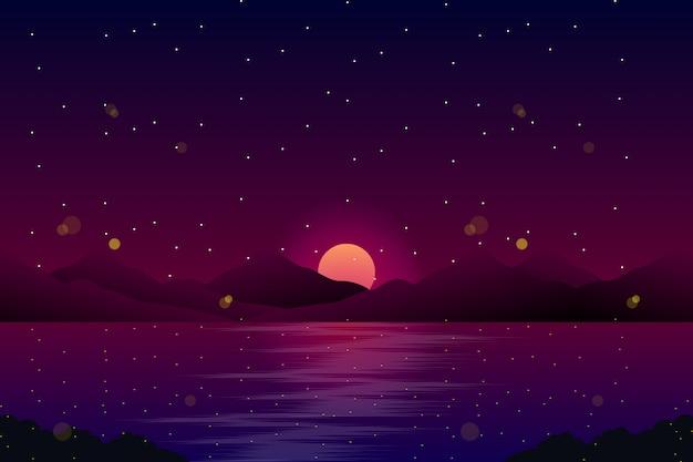 Paisagem da noite com o mar e o céu com ilustração de estrelas