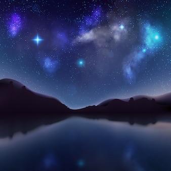 Paisagem da noite com silhuetas escuras das montanhas e céu com estrelas. lago místico.