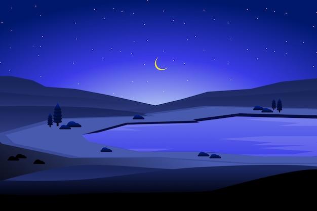 Paisagem da noite e céu azul com ilustração de fundo de montanha