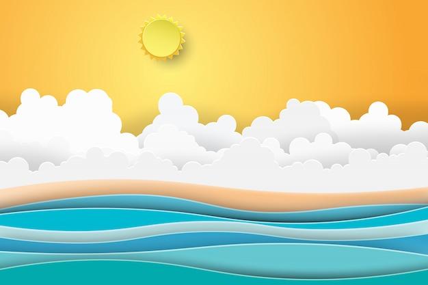 Paisagem da opinião do por do sol do mar com praia do verão.
