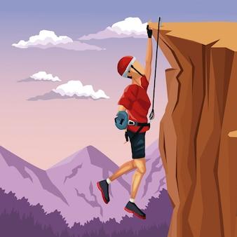 Paisagem da paisagem, homem pendurado no penhasco, ancorado ao topo da escalada Vetor Premium