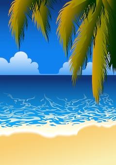 Paisagem da praia com fundo das folhas de palmeira. conceito de verão