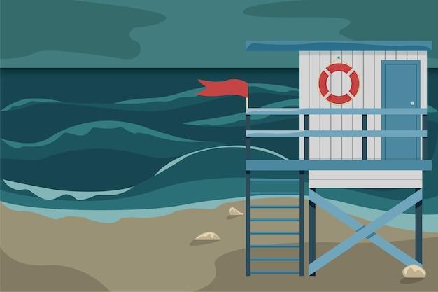 Paisagem da praia com uma casa de salva-vidas durante uma tempestade.
