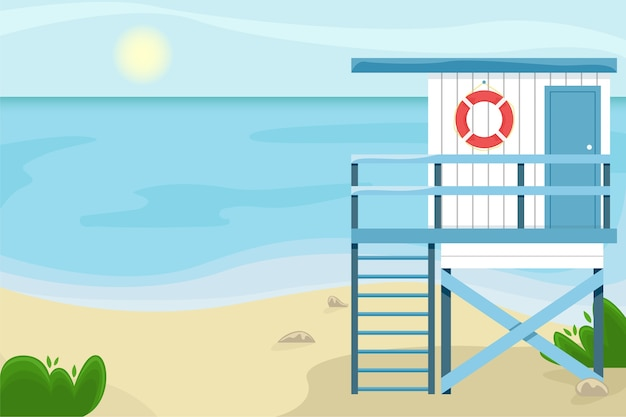 Paisagem da praia com uma casa de salva-vidas.