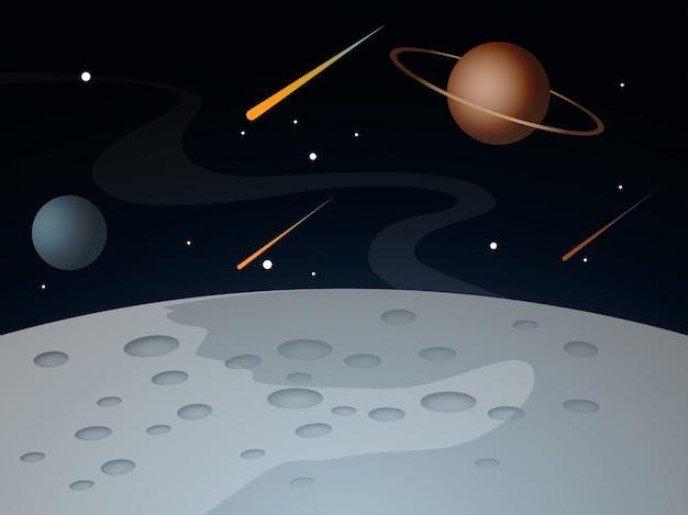 Paisagem da superfície da lua com planetas e estrelas