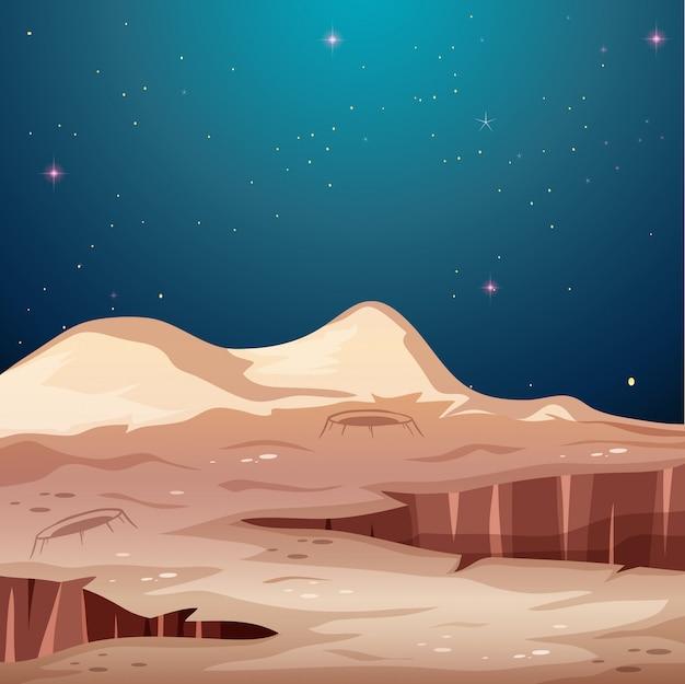 Paisagem da superfície do espaço de marte
