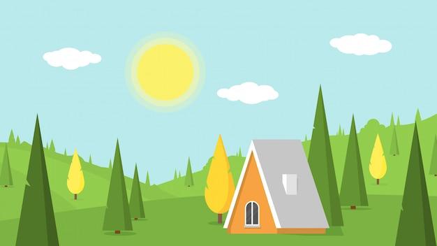 Paisagem da vila com gramados verdes, colinas e casa de campo.