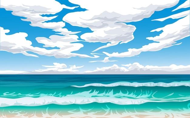 Paisagem das ondas do mar com céu nublado
