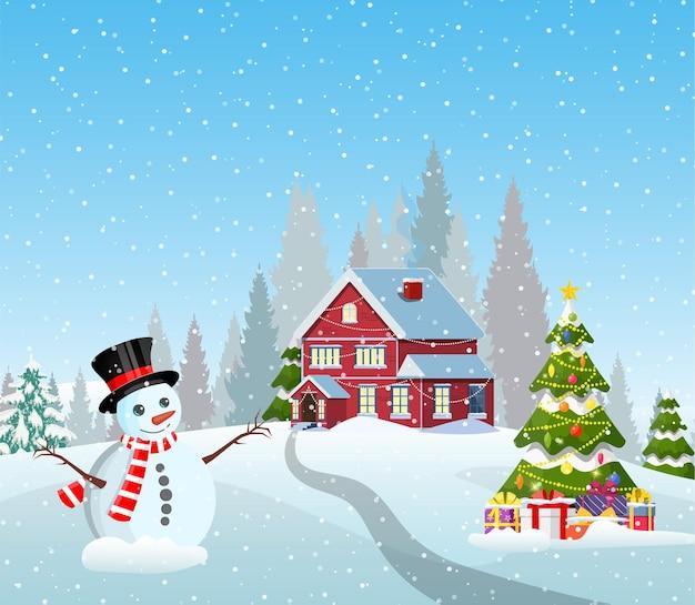 Paisagem de aldeia com neve