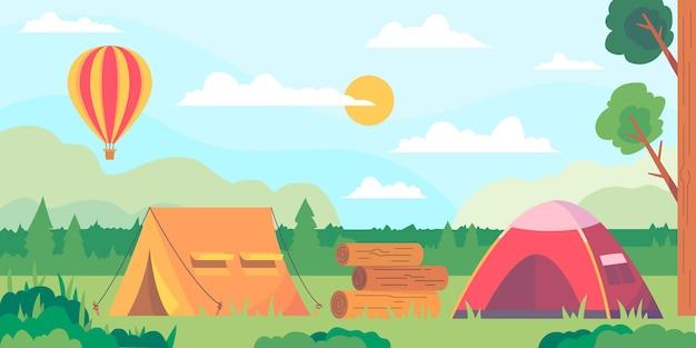 Paisagem de área de acampamento de design plano com barracas e balão de ar quente