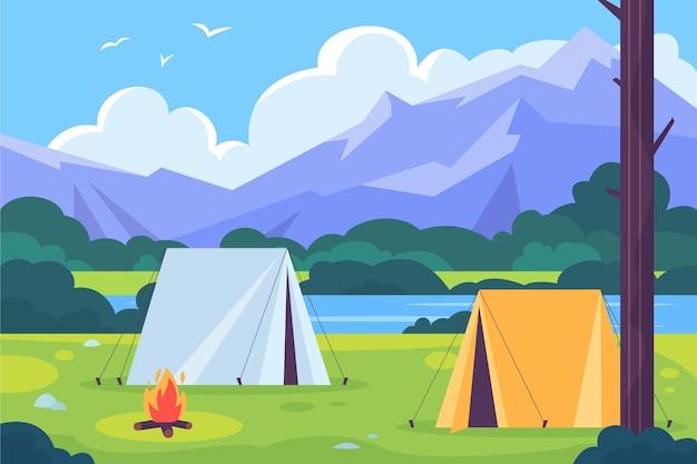 Paisagem de área de acampamento de design plano