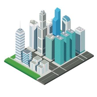 Paisagem de arranha-céu cidade mapa 3d isométrica e ruas árvore, ilustração vector
