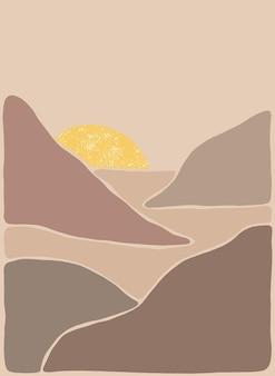 Paisagem de arte boêmia abstrata em tons de terra estilo boho mountain view sun moon hills