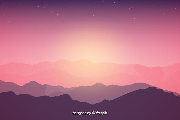 Paisagem de belas montanhas com sombra do sol