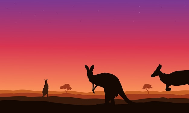 Paisagem de beleza canguru em silhuetas de colinas