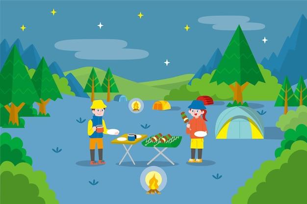 Paisagem de camping com churrasqueira