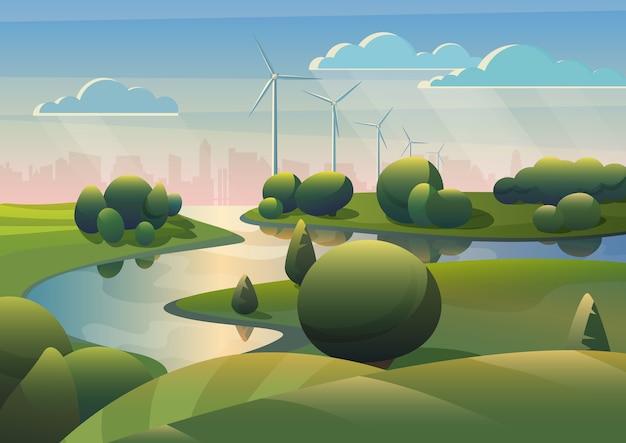 Paisagem de campo de terras verdes com moinhos de vento de rio e turbinas eólicas