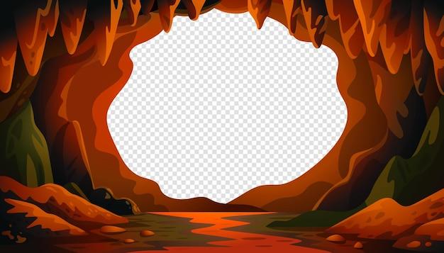 Paisagem de caverna de desenho animado com um centro em branco