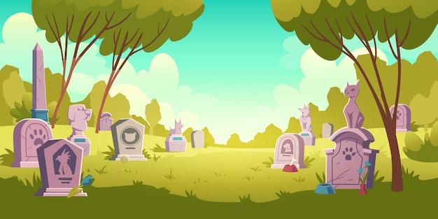 Paisagem de cemitério de animais, lápide com pegada