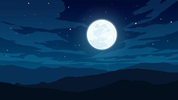 Paisagem de céu noturno nublado com lua e estrelas