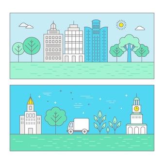 Paisagem de cidade de ilustração vetorial no elegante estilo linear plana