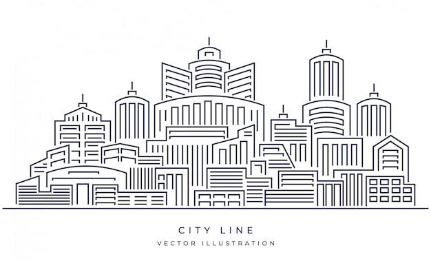 Paisagem de cidade de linha fina de vetor