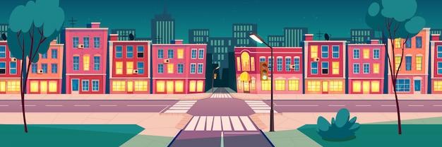 Paisagem de cidade de noite de verão dos desenhos animados